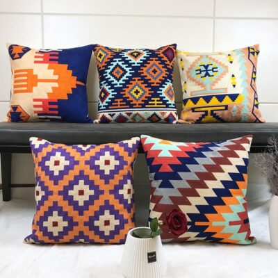 Geometric Embroidered Cushion Cover