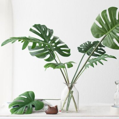 Large Artificial Fake Monstera Palm Tree Leaves