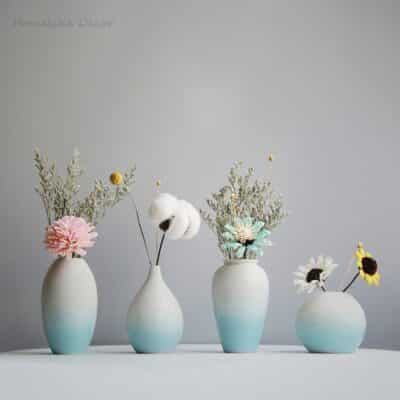Modern Azure Blue Ceramic Flower Vase