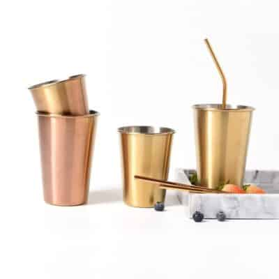 Plated Silver and Rose Gold Glass Stainless Steel Mugs