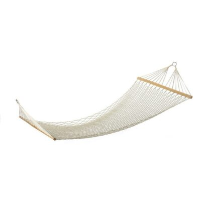 White Outdoor Mesh Cotton Rope Swing Hammock