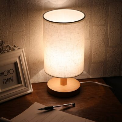 Wooden Desk Lamp With Fabric Shade