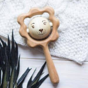 Lion Wooden Rattle Teething Toy feature