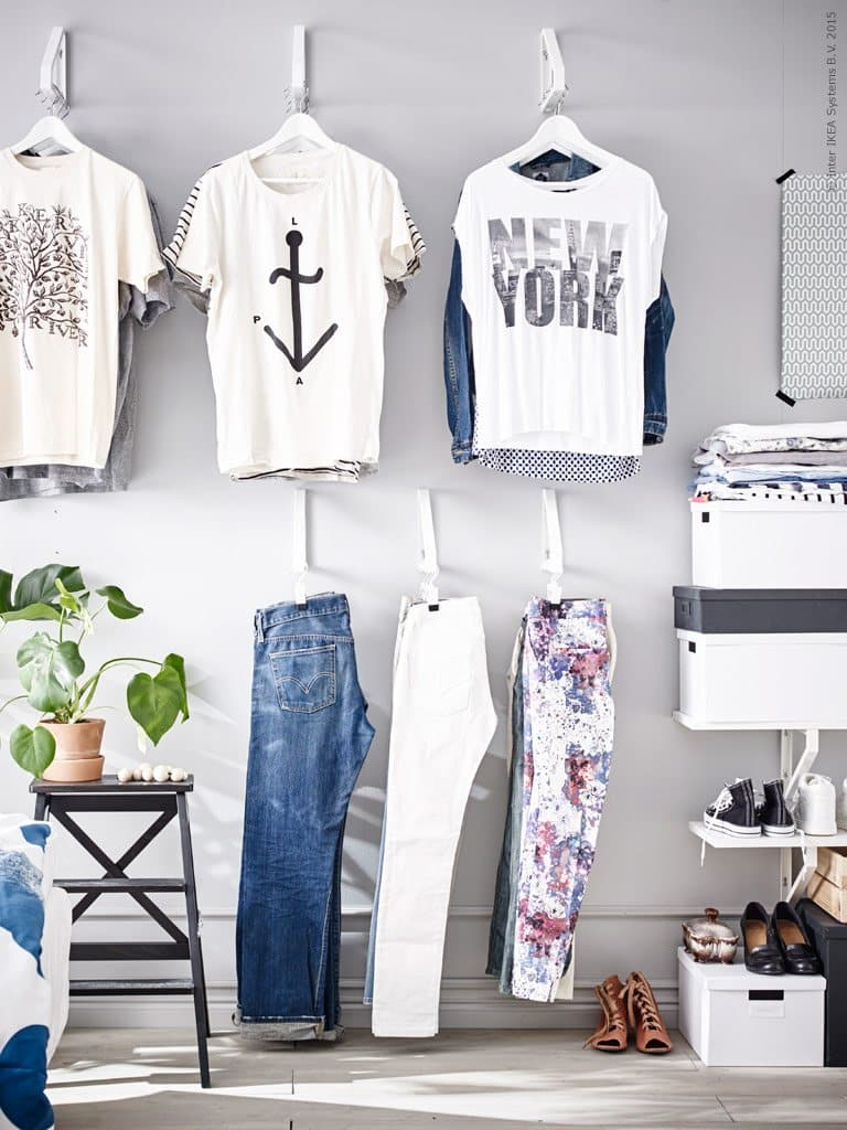 Utilize-Wall-Space-To-Hang-Your-Clothes-With-IKEA